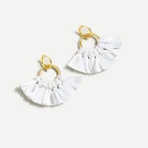 J Crew White Fabric Fan Earrings